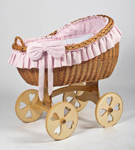 MJ Mark Bianca Uno - Pink - Heart Wheels - Wicker Crib