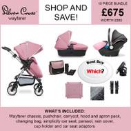 Silver Cross Wayfarer Pushchair (10 Piece Bundle) - Vintage Pink