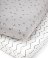 Mamas & Papas 2 Cot/Bed Fitted Sheets - Grey