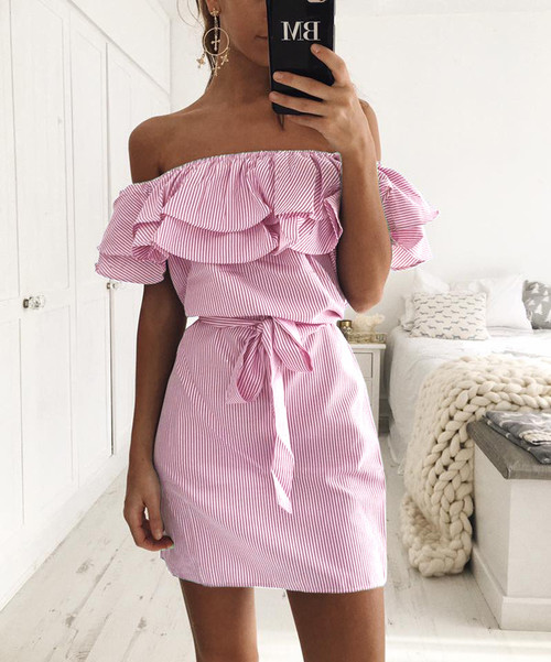 Stripes off Shoulder Dress Ruffles - palaceofchic