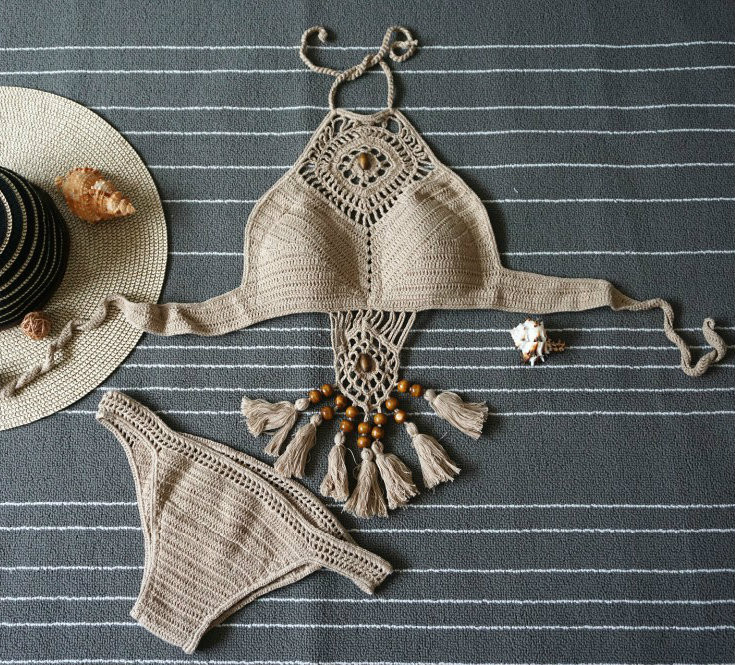 Brown Crochet Bikini
