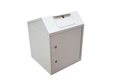 The Mini Collection Unit from Take Back Express may be smaller in size, but is still big on security. It is an ideal collection unit or depository for expired medications, unwanted prescription and over the counter drugs that need to be disposed. Hospitals, clinics, medical offices, pharmacies, and law enforcement agencies can anchor this unit to a floor, wall or table top to ensure box contents are secure.
