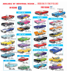 33 styles of GM & Chevrolet 1950's & 1960's classic car food boxes. All styles are $1.49 each.  Mix n Match. Buy 1, Buy 1,001, one at a time.  Great for food containers, centerpieces, or even a small plant or flowers, you can also buy the plastic inserts for 30¢ each if using food or a plant.