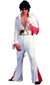 Elvis Style 1970s Rock Star White Jumpsuit Costume Plus Size