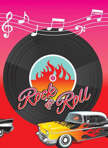 Retro Rock & Roll Party Table Cover