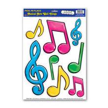 Neon Musical Notes Peel and Place Wall Clings