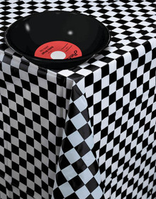 Black & White Checked Table Cover Plastic