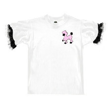 Kids's poodle tee with Pink flocked poodle. Great to wear with one of our kid's size poodle skirts. We have them in wash 'n wear polyester or in felt like in the 1950's. Add one of our poodle tees with lace on the sleeves and your child is ready to be stylin' 50's style.