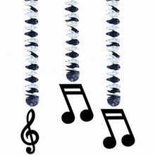Plastic black music notes dangle from a cascading, shimmering variance of black & silver metallic decoration. Hang them from the ceiling to create an atmosphere for music and fun. Great party decoration for any occasion where music is involved.