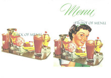 1950's Menu. Retro waitress and food featured in the 50's as well. On the inside is a retro diner menu with all the favorite foods of the day. You will want one for each of your guests. Great souvenirs of your event.