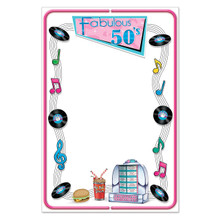 """Fab 50s Menu Board. 21 1/2"""" x 13 1/2"""". The 50s Icons featured around the edges match many of the party decorations that are sold on this website."""