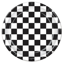 "Black & White Checked Party Plates are 8 pieces per package. Sturdy 9"" plates. In the 1950's black & white checks were everywhere, floors, tabletops, countertops, everywhere. These plates are a great addition to our line of black & white 50's party decorations. We have the table covers, the plates, the napkins, the wall hangings, and many, many party decorations that feature the black & white check theme."