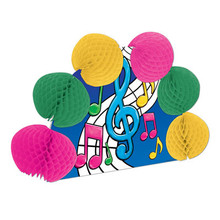 """Musical Notes Pop-Over Centerpiece with 6 round fold-out 3D balls made of honey comb tissue in bright colors of hot pink, yellow, & green and the centerpiece itself is featured with various Music Notes. It is made of cardboard (poster board weight). The centerpiece is completely assembled, easy one step to set it up and the instructions are included. This fun party item will add a touch of fun to any event that has music involved. Great centerpiece, fun party decoration. Birthdays, anniversaries, dances, 50's theme parties. The over all measurements when folded out is 10"""" x 6"""" and will stand up on any smooth surface."""