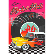 Let's Rock & Roll Party Invitations. 8 in the package, includes 8 envelopes, 8 Seals, & 8 Stickers to tell your friends to save this date. They are post card invitations for easy mailing and on the back of each card the words & spaces to write For: the reason for your party, Date, Time, Place, & RSVP so really easy for you to fill out and send.