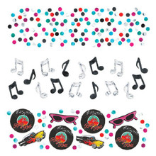 "1950's Icons Metallic Confetti Value Pack. 3 pack variety of  1 Pack: 50's Icons (1957 Chevy with Flames, Cateye Sunglasses, Rock & Roll Minatures of 45 RPM records & Music Notes), 1 Pack of Silver & Black Metallic Music Notes, 1 Pack of Metallic Dots. Great selection for a theme party or dance, birthday, anniversary, or just for fun! 1  1/2 ounces of great confetti. Some of the icons measure 1"" across."