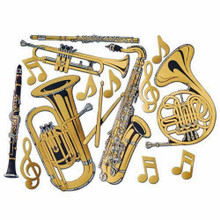 "Gold Foil Cutout 15 Piece Musical Pieces, including Musical Instruments & Music Notes. Great decor for a Music Decor for a dance Party, a sock hop, a Hollywood Party, etc. It is a cutout sheet that measures 24"" x 17"" and is actually gold foil poster board making the cutouts to be two-sided with a Gold Metallic Look. Really a neat item for a really good Close-Out Price of 50% Off the Regular Price. Limited Quantities. This is a retired item that was made by the Beistle company a few years back so Don't Miss Out, Buy Now!!"