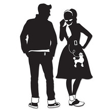 "1950s Guy & Poodle Skirt Girl 34"" & 36 1/2"" Silhouette Wall Hangings. Set of 2, each is approximately 13 inches wide. Make a great presence in a room for a party, or sock hop, or teen dance, 1950s party, birthday, 50th anniversary and so much more. The black and white silhouettes are about 3 Feet High and have the look of the 50s guy and girl ""at the Hop"". They are made of lightweight poster board so are sturdy enough to be used time and again. They are printed on both sides if you would like to suspend them from ceiling also. Reasonable priced and a great addition to a movie or theatre room also."