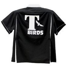 T Bird or Thunderbird bowling shirts were introduced in the Movie Grease. Popular as ever and maybe more so. Fun to wear whether you bowl or not. We sell them to sports teams, 50s party attire, group events, car clubs, and more. BUY NOW!! DON'T MISS OUT ON THE FUN!