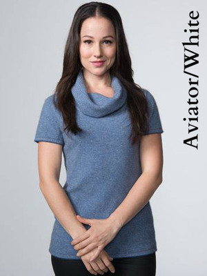Short Sleeve Striped Cowl Neck top in  Aviator Blue/white