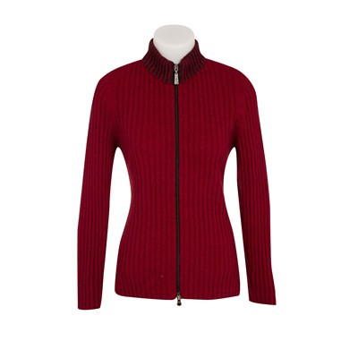 Brioche Trim Rib Jacket in Possum Merino Wool & Silk by Native World in Berry Red