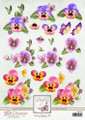 3D Sheet Ann's Paper Art - Colourful Pansies  APA3D007