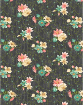 Village Garden Small Floral Dark Grey