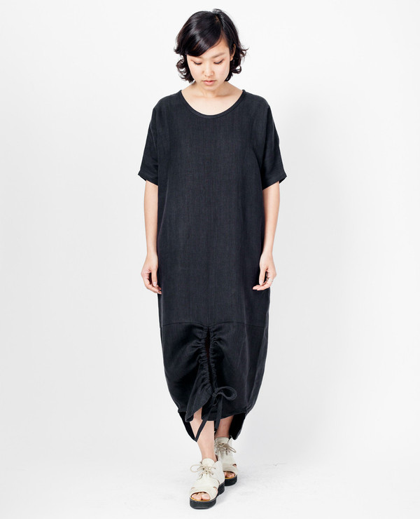 Asta Dress - Black Linen