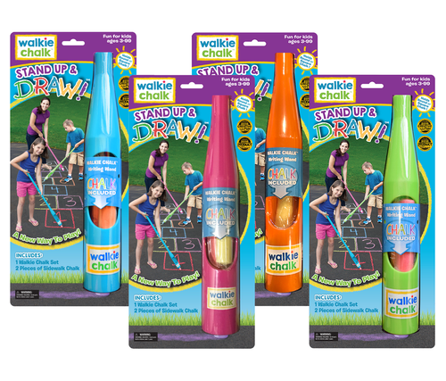 Walkie Chalk comes in 4 bright fun colors! Each package includes 2 pieces of chalk - it's the perfect outdoor toy for kids, parents, grandparents or as a gift! Grab a Walkie Chalk and start creating!