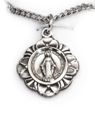 Fancy Round Sterling Miraculous Medal