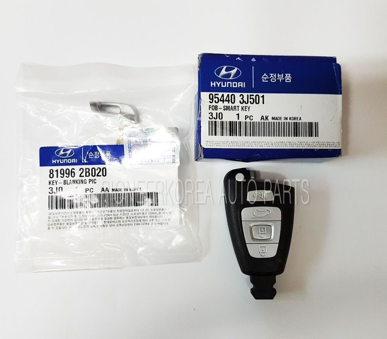 Keyless entry smart key fob 954403j501 with blanking for hyundai veracruz ix55