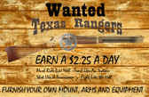 Texas Ranger Old Wooden Sign 11 x 17 x 1