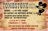 Tombstone Bunk House Old Wooden Sign 11 x 17 x 1