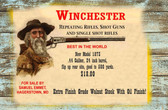 Winchester Rifle Old Wooden Sign 11 x 17 x 1