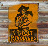 Colt Revolvers Old Wooden Sign 11 x 11 x 1