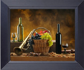 Bottle Of Wine Grapes And Basket Photo