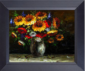 Floral Flower In A Vase Pallet Knife Painting On Canvas