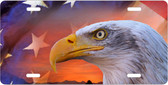 Bald Eagle And the American Flag Motivational License Plate