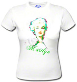 Watercolor art Marilyn Monroe Red Lips Pearls Ladies T shirt Fashion Apparel