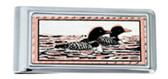 Copper and Daimond Cut Loons and Lake Scene Money Clips