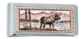 Copper and Daimond Cut Moose Wildlife Scene Money Clip