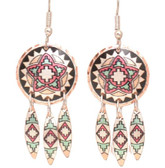 All Copper Apache Native Design Dangle Copper Earrings