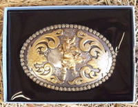 NOCONA OVAL BERRY EDGE BULL RIDER WESTERN BELT BUCKLE