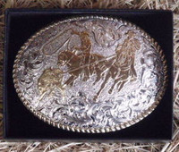 CRUMRINE LARGE TEAM ROPER WESTERN BELT BUCKLE