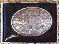 NOCONA OVAL LARGE GRIZZLY WESTERN BELT BUCKLE