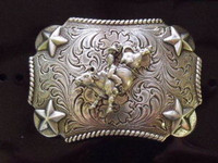 NOCONA KID SIZE PEWTER LIKE BULL RIDER WESTERN BELT BUCKLE
