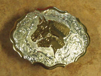 CRUMRINE MARE AND COLT HEADS WESTERN BELT BUCKLE