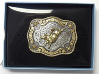 NOCONA KID SIZE FANCY BULL RIDER WESTERN BELT BUCKLE