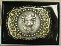 Nocona Srolled Buffalo Head Belt Buckle