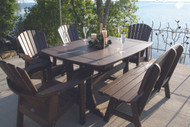 "56"" TABLE ADIRONDACK CHAIRS AND BENCH"