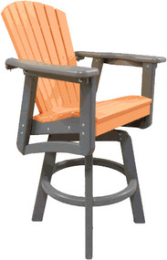 bar height swivel chair pictured in tangerine and gray